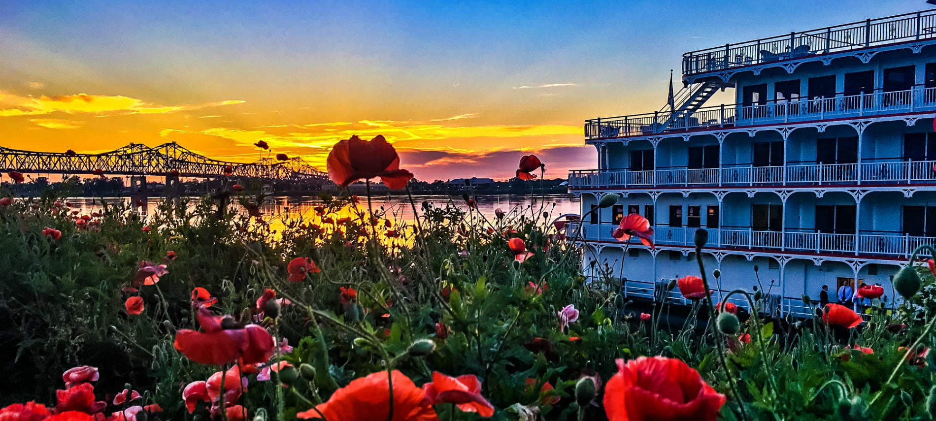 Gorgeous view of red flowers overlooking the water and bridge during a bright orange and pink sunset with condos on the side