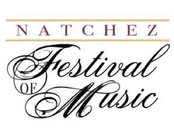 Natchez Festival of Music sign with cursive lettering