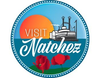Visit Natchez circular logo displaying sunset, a boat, and red poppies