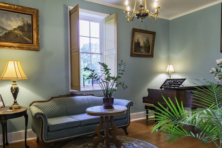 View of sitting area decorated with baby blue walls, wood flooring, a pale blue sofa, dark wood piano an dtables, and a tropical plant