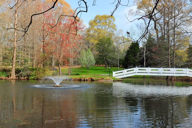 Beautiful autumn view over a pond with small water fountain in the middle and a white bridge crossing to the green grass on each side